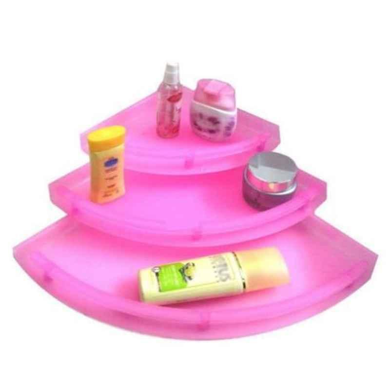 Drizzle 3 Tier Plastic Unbreakable Pink Corner Shelves, A3CORNERPINK