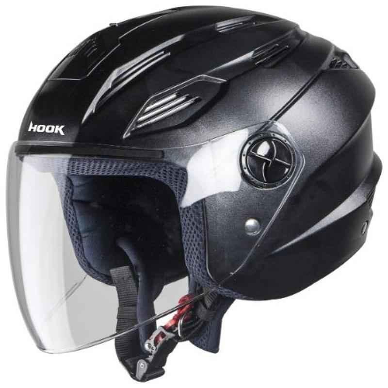 Steelbird SBA-6 Hook Black Open Face Helmet, Size (Large, 600 mm)
