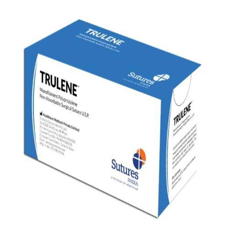 Trulene 12 Foils 1 USP 45mm 1/2 Circle Reverse Cutting Heavy Monofilament Polydioxanone Non Absorbable Suture Box, SN 883