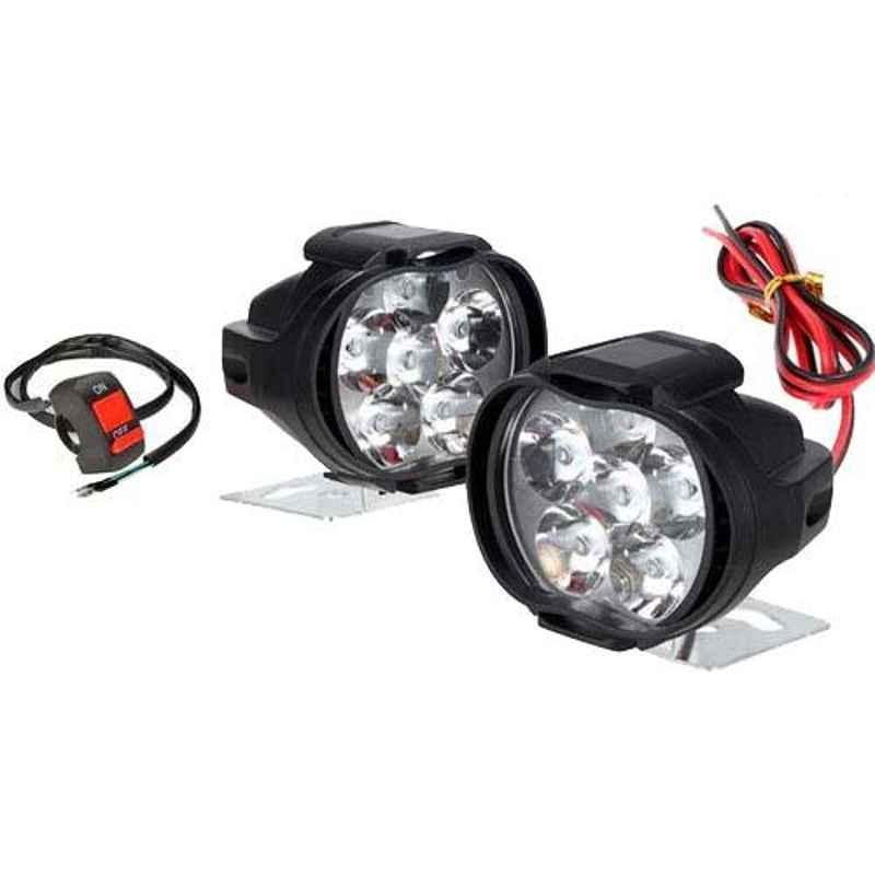 AllExtreme EX6FLS2 2 Pcs 10W SHILAN White Imported 6 LED Mirror Mount Spot Fog Light Set with Switch