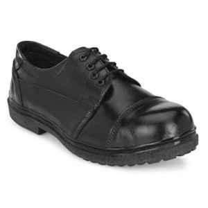 ArmaDuro AD1011 Leather Steel Toe Black Safety Shoes, Size: 8