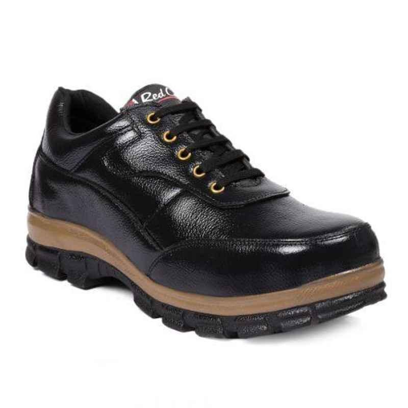 RED CAN SGE1165BLK Leather Low Ankle Steel Toe Black Safety Shoes, Size: 7