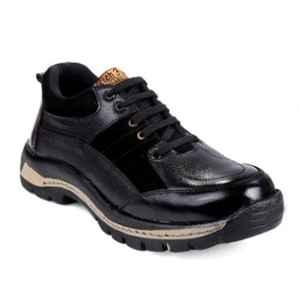 Rich Field SGS1127BLK Leather Low Ankle Steel Toe Black Safety Shoes, Size: 8