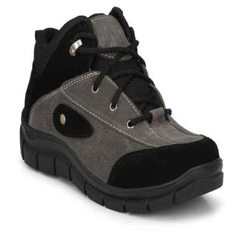 Wonker 6354 Synthetic Leather Steel Toe Grey Safety Shoes, Size: 6