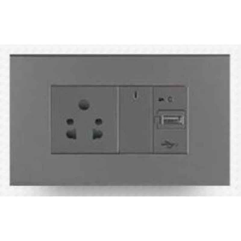 Wipro North West Artisa 6A 1 Module 1 Way Silver Grey Switch, R0110 (Pack of 10)