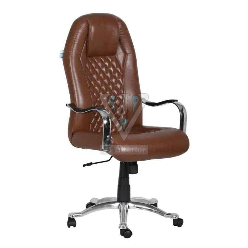 VJ Interior 19x20 inch Brown High Back Leather Director Chair, VJ-1511