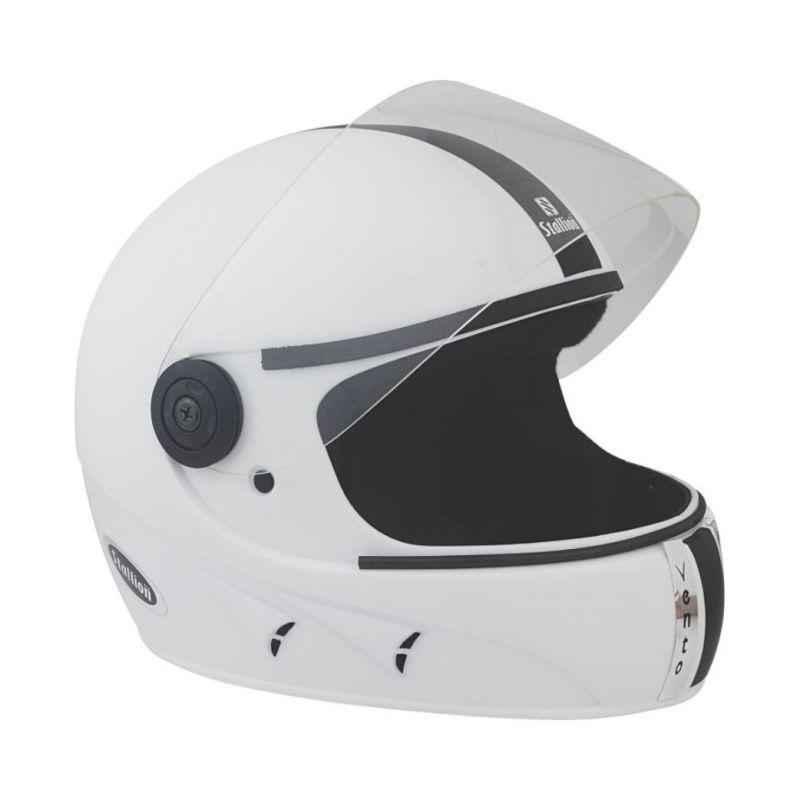 Stallion BLK Vento Full Face White Motorbike Helmet, Size: M