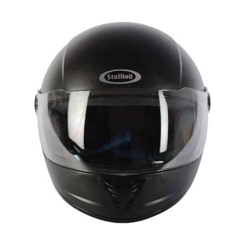 Stallion BLK Vento Pro Black Full Face Bike Helmet, Size: M