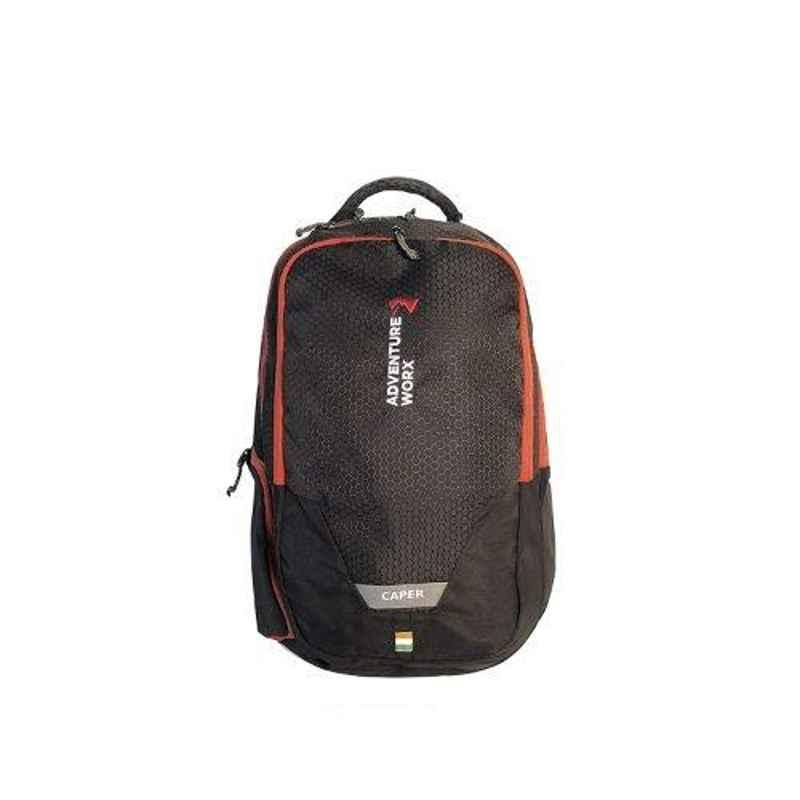 Adventure Worx Caper 24L Polyester Black & Red Laptop Backpack with AWT Technology