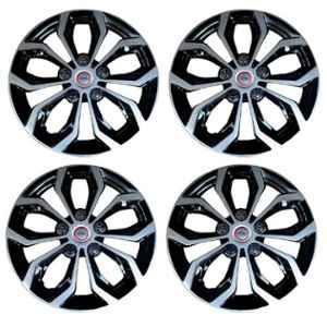 Hotwheelz 4 Pcs 13 inch Black & Silver Wheel Cover Set for All Cars, HWWC_PEARL_DC13
