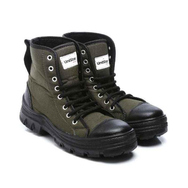 Unistar Leather PVC Sole Olive Green Safety Boots, S.Power_Olivegreen, Size: 11