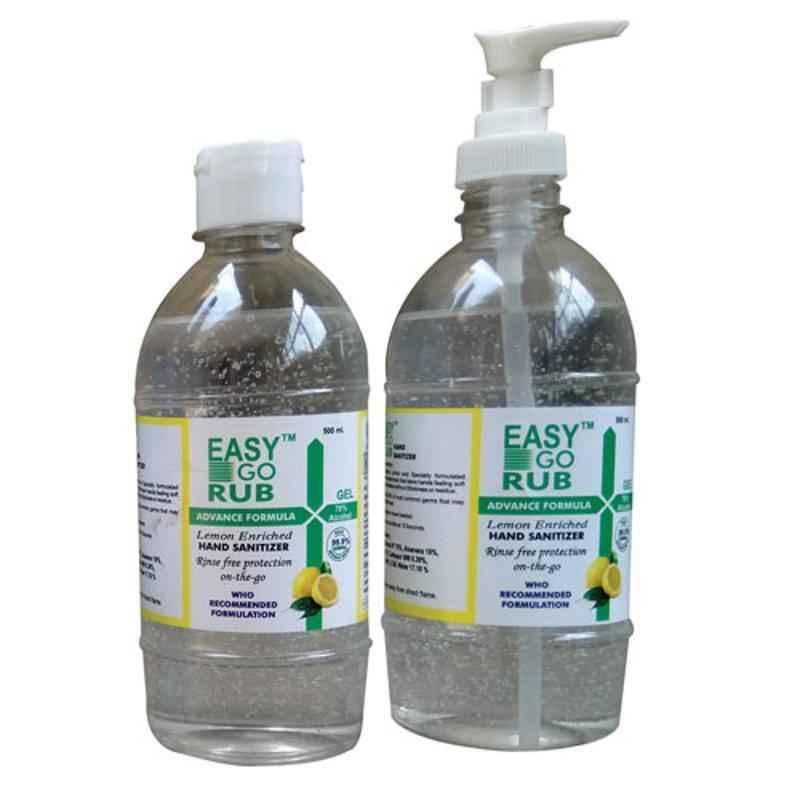 Easy Go Rub 70% Ethyl Alcohol 2x500ml & Dispenser Gel Based Hand Sanitizer Combo