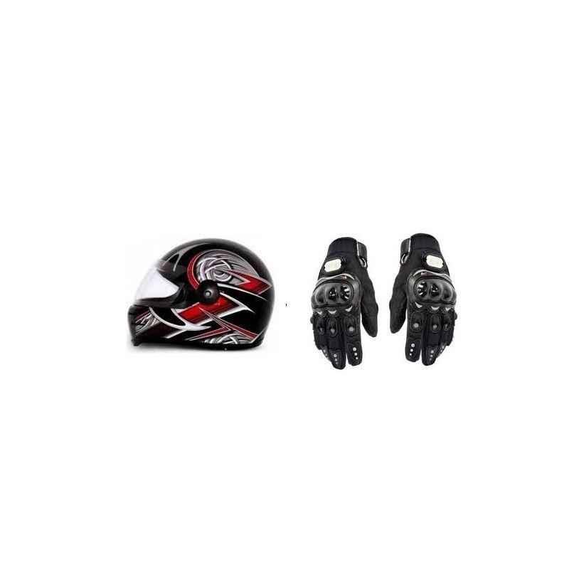 Evergreen Combo of Stylish Helmet & Black Pro Biker Gloves