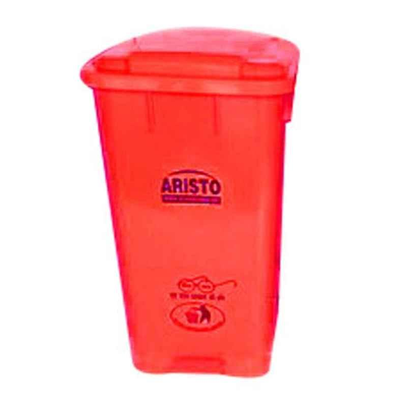 Aristo 65L 456x405x720mm HDPE Red Center Foot Pedal Dustbin with 2 Wheels (Pack of 2)