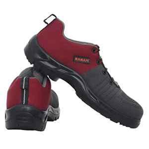 Karam Flytex FS 213 Fly Knit Fiber Toe Cap Grey & Red Sporty Safety Shoes, Size: 6