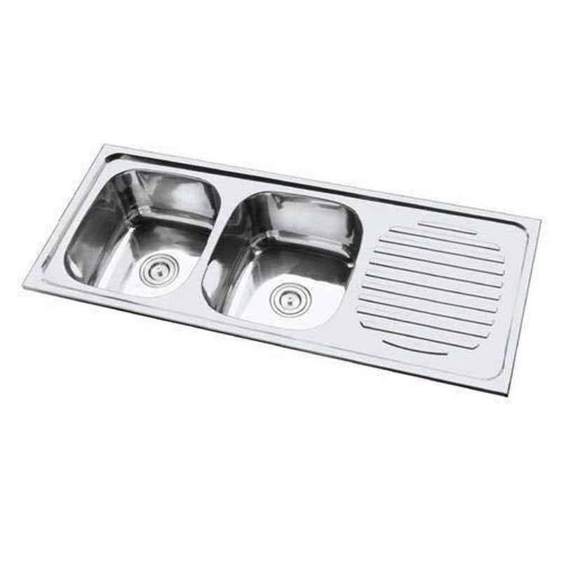 Crocodile 54x18x8 inch Glossy Finish Stainless Steel Double Bowl Kitchen Sink with Drainboard