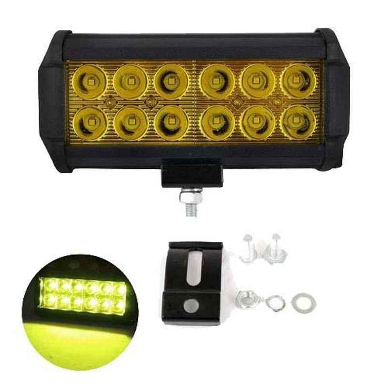 AllExtreme EX12FY1 36W 12 LED 7.5 inch Yellow Waterproof Fog Light Bar