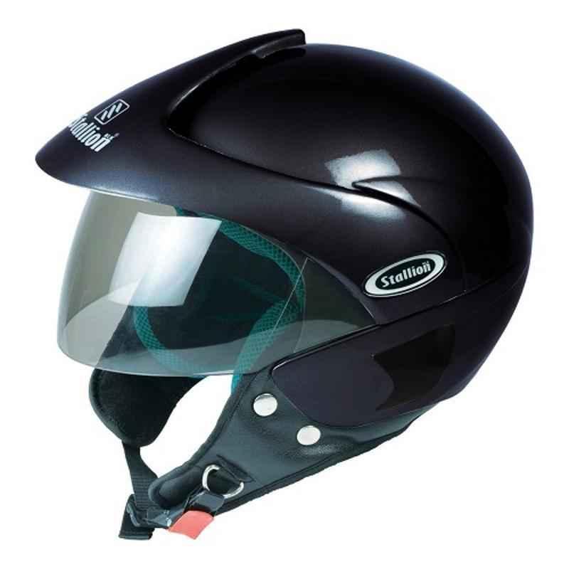 Stallion BLK Triomax Open Face Black Motorbike Helmet, Size: M