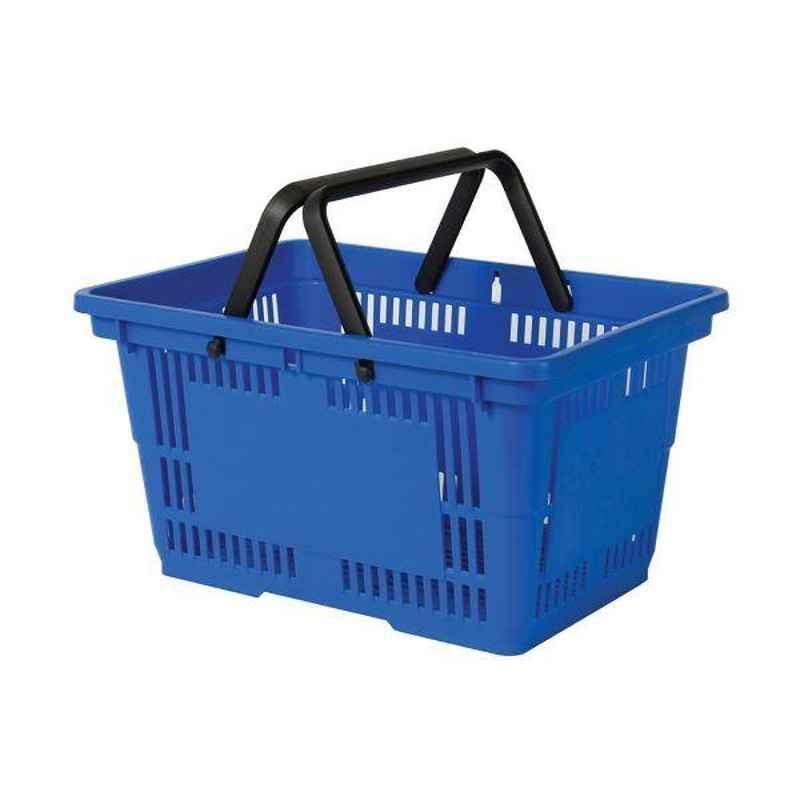 Bigapple 28L Plastic Blue Shopping Basket without Wheels, SB-28-BLUE