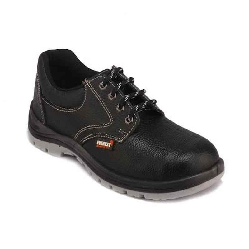 Everest EVE-104 Low Ankle Leather Steel Toe Double Density Black Safety Shoes, Size: 5