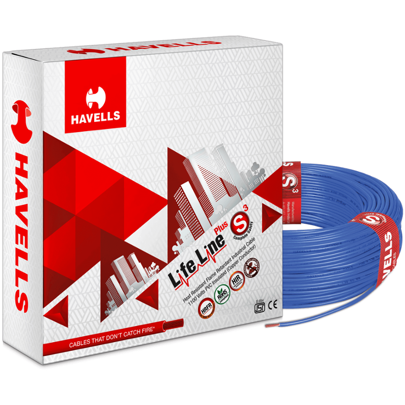 Havells 2.5 Sqmm Blue Life Line Plus Single Core HRFR PVC Insulated Flexible Cables, WHFFDNBA12X5, Length: 90 m