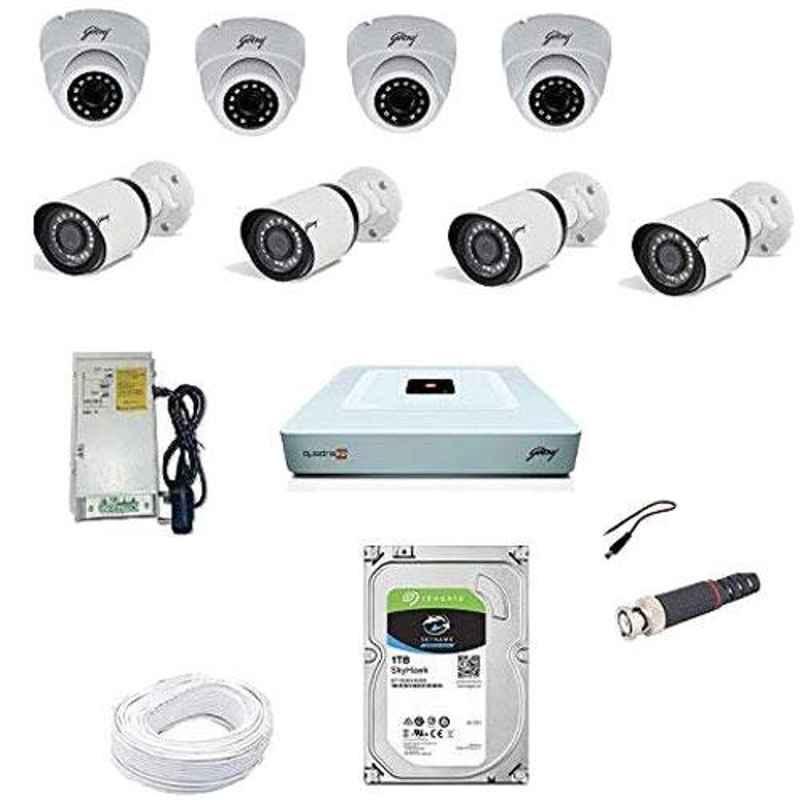 Godrej SeeThru 1080P Full HD White CCTV Camera Kit with Hard Disk, GODREJ2MP4BULLET4DOME1TBHD