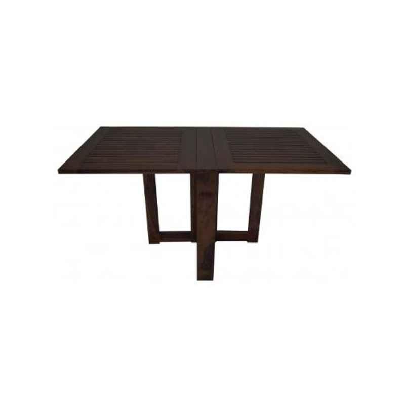 Angel Furniture Solid Sheesham Wood Glossy Finish Dark Brown Rectangular Dining Table, AF-169W