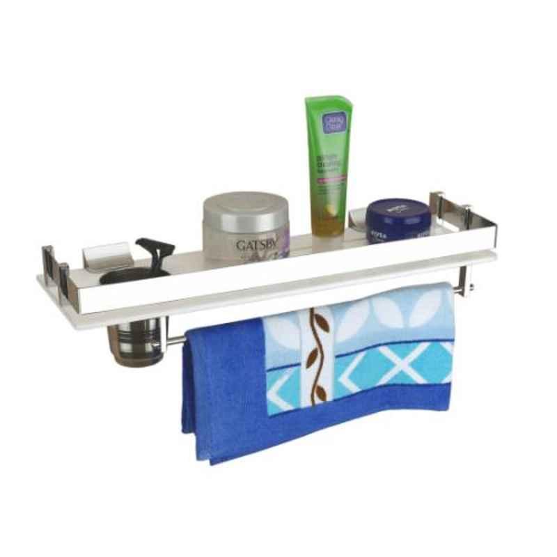 Axtry 18x6 inch Wall Mounted Acrylic White 3-in-1 Bathroom Shelf & Tumbler Holder