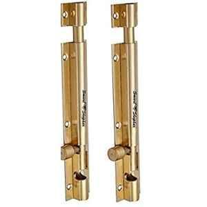 Smart Shophar 8 inch Brass Gold Plain Tower Bolt, SHA10TW-PLAN-GL18-P2 (Pack of 2)