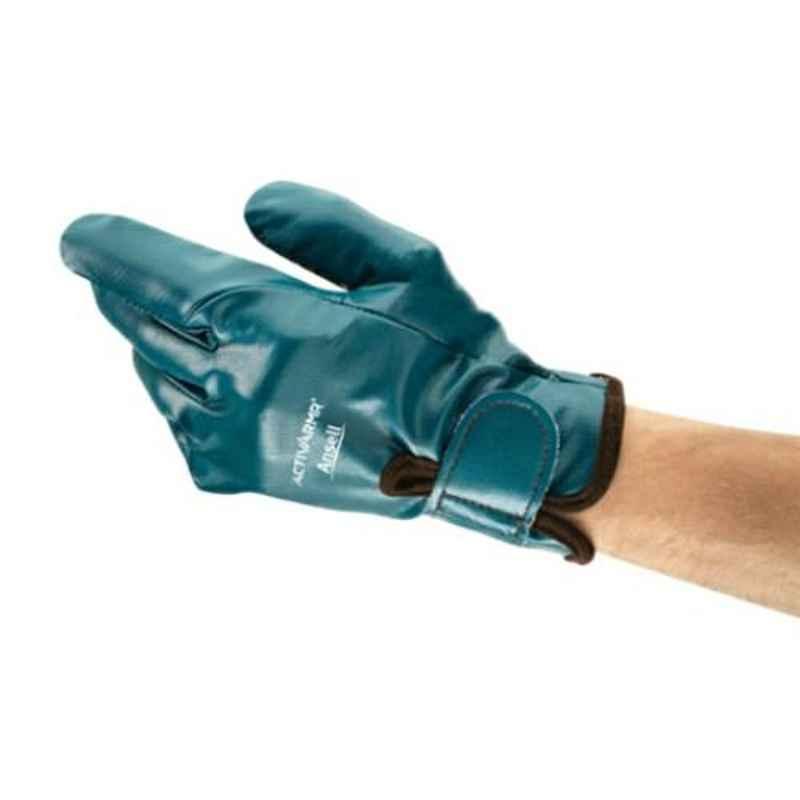 Ansell ActivArmr Blue Nitrile & Gelfom Industrial Hand Gloves, Size: 9, 07-112