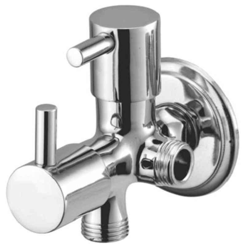 Drizzle Flora 2 in 1 Brass Chrome Finish Silver Angle Valve, AAC2IN1FLORA