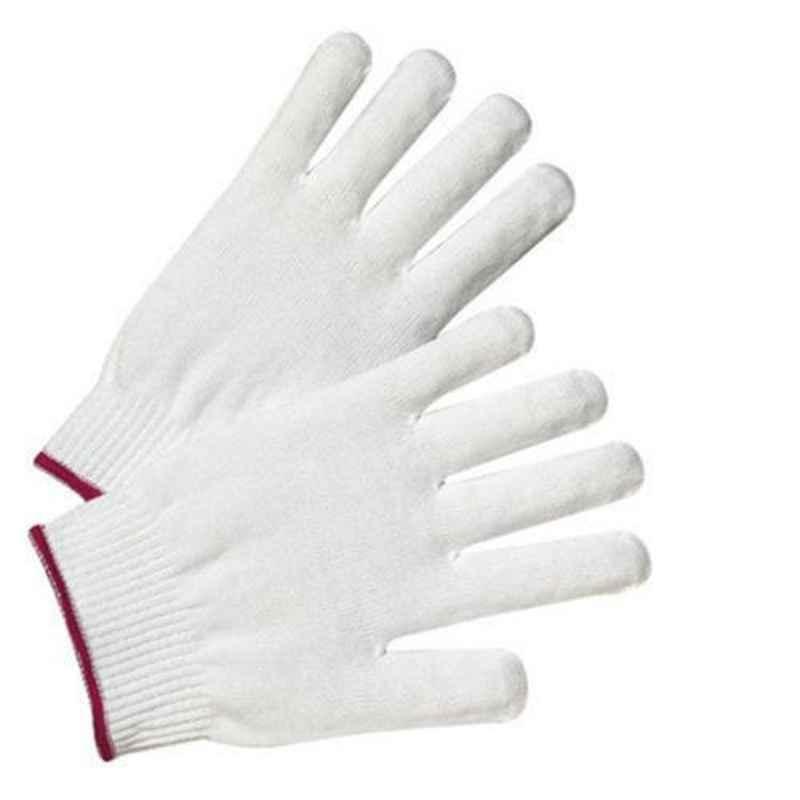 Shree Rang White Nylon Knitted Gloves, KH22