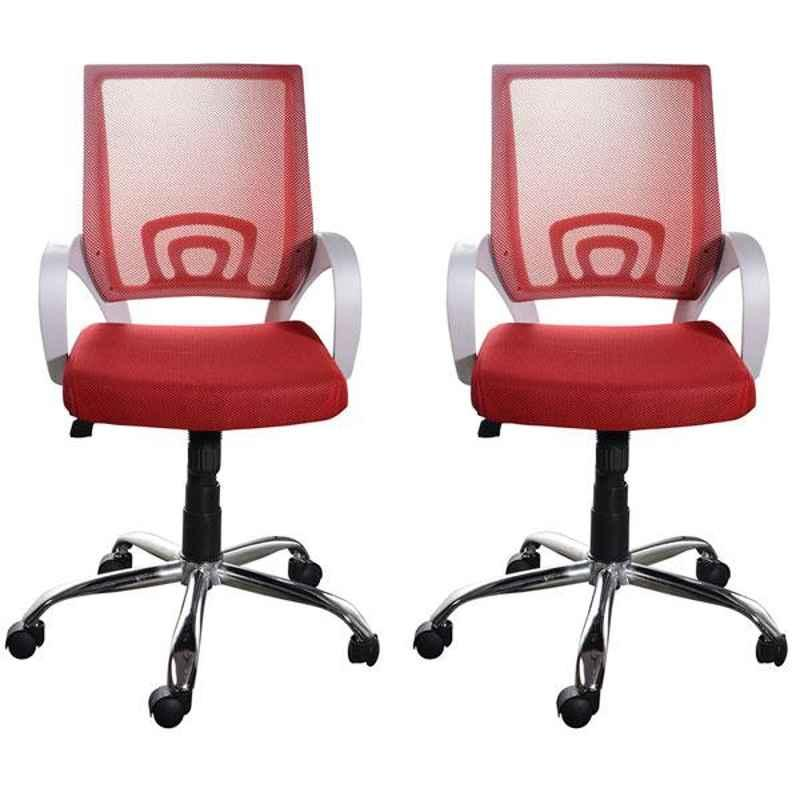 Regent Voom Net & Metal White & Red Chair with Modle Handle (Pack of 2)