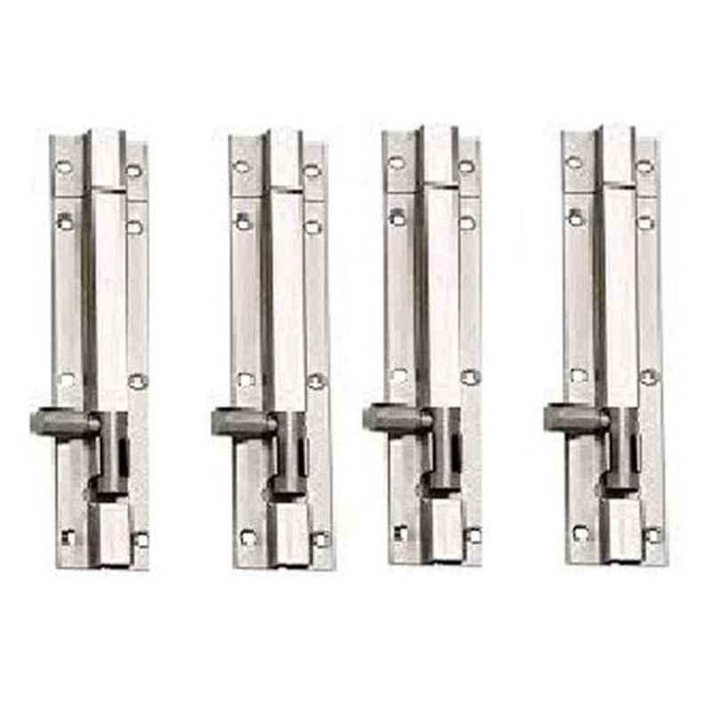 Nixnine 8 inch Stainless Steel Tower Bolt Security Door Latch Lock, SS_LTH_A-511_8IN_4PS (Pack of 4)