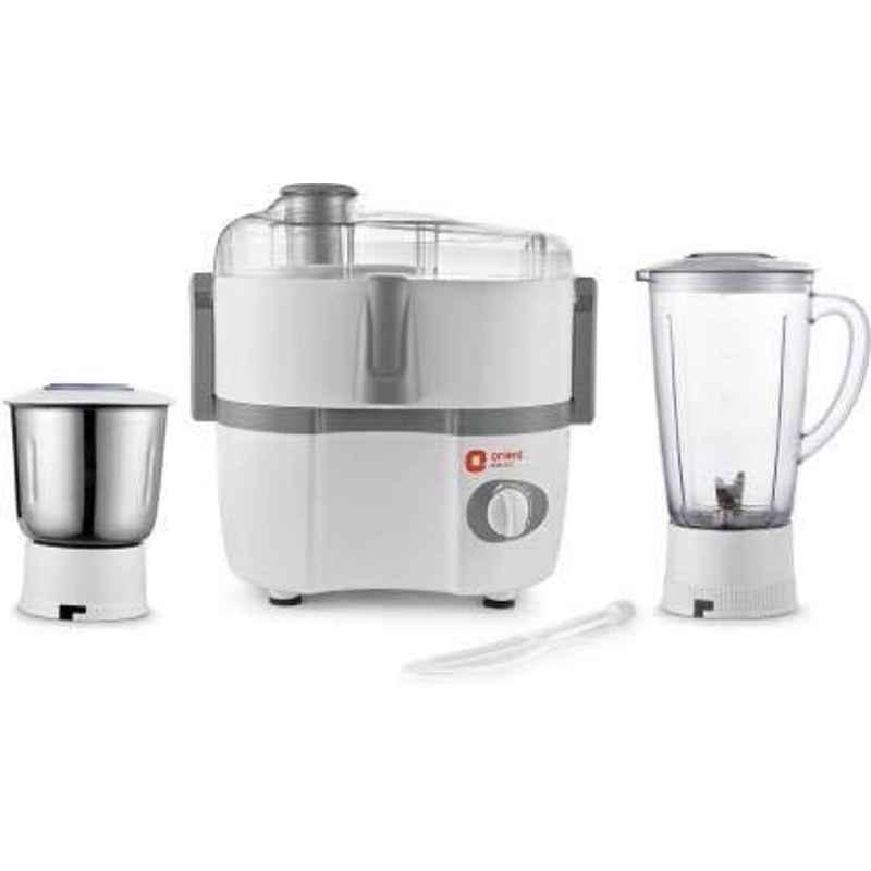 Orient Aisha JMAS45G2 500W Plastic White & Grey Juicer Mixer Grinder with 2 Jars