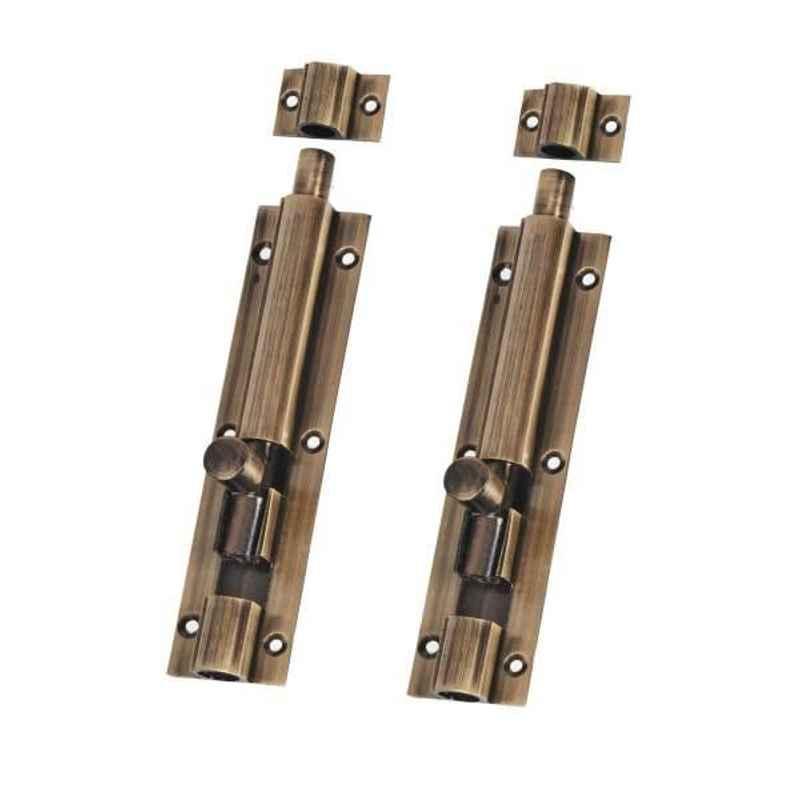 Smart Shophar 10 inch Brass Antique Plain Tower Bolt, SHA10TW-PLAN-AN10-P2 (Pack of 2)