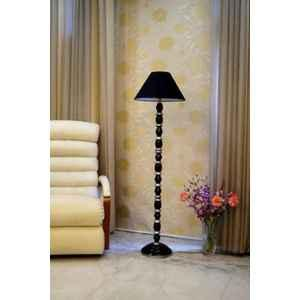 Tucasa Mango Wood Black & Silver Floor Lamp with Black Conical Polycotton Shade, WF-39