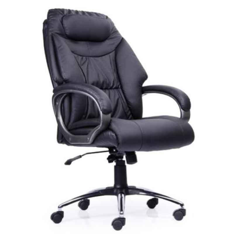 Master Labs Leatherite Black Knee Tilt Synchronic Office Chair with Fixed Arm, MLF-190