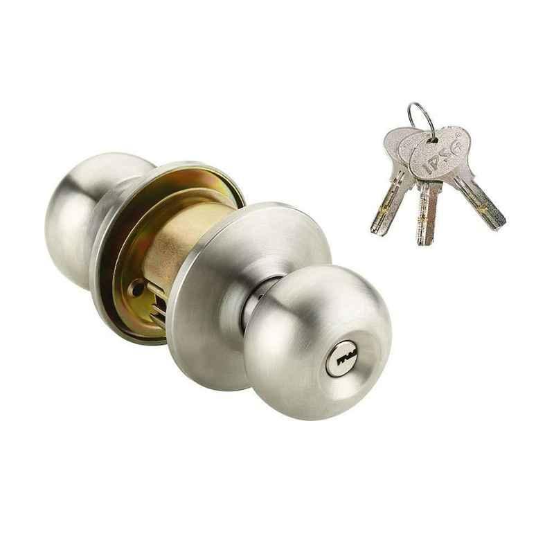 IPSA Metallic Steel Cylindrical Lock Lockset Tubular Knob with Computer Key, 8046