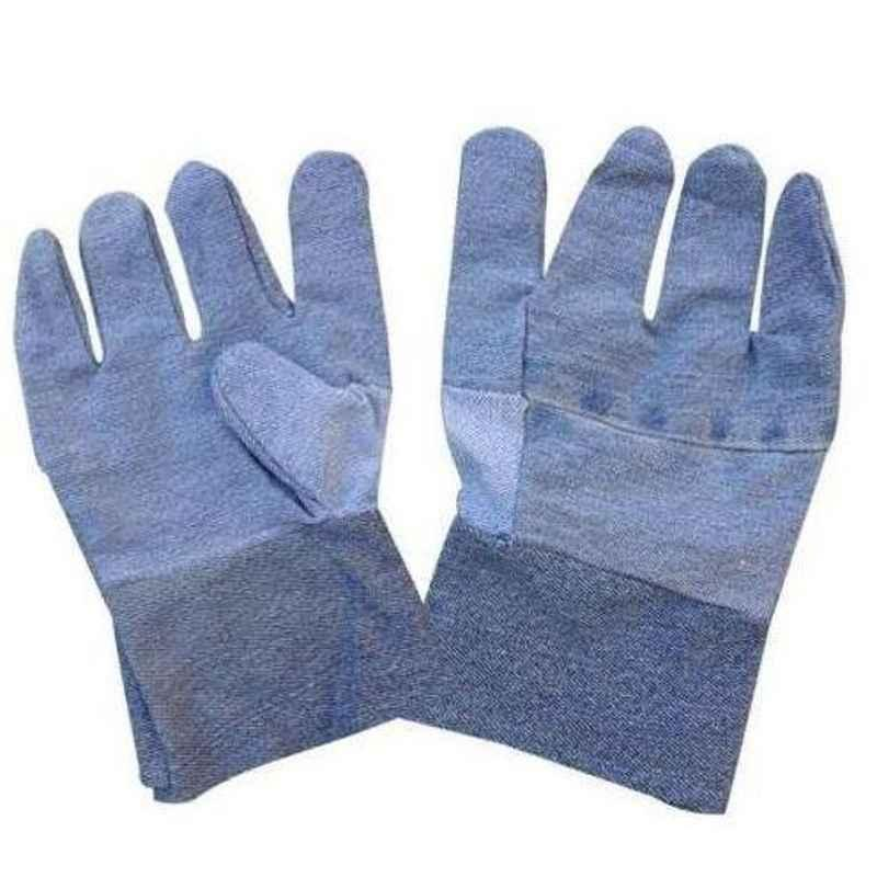 Siddhivinayak Blue Cotton Jeans Wiper Hand Gloves (Pack of 50)