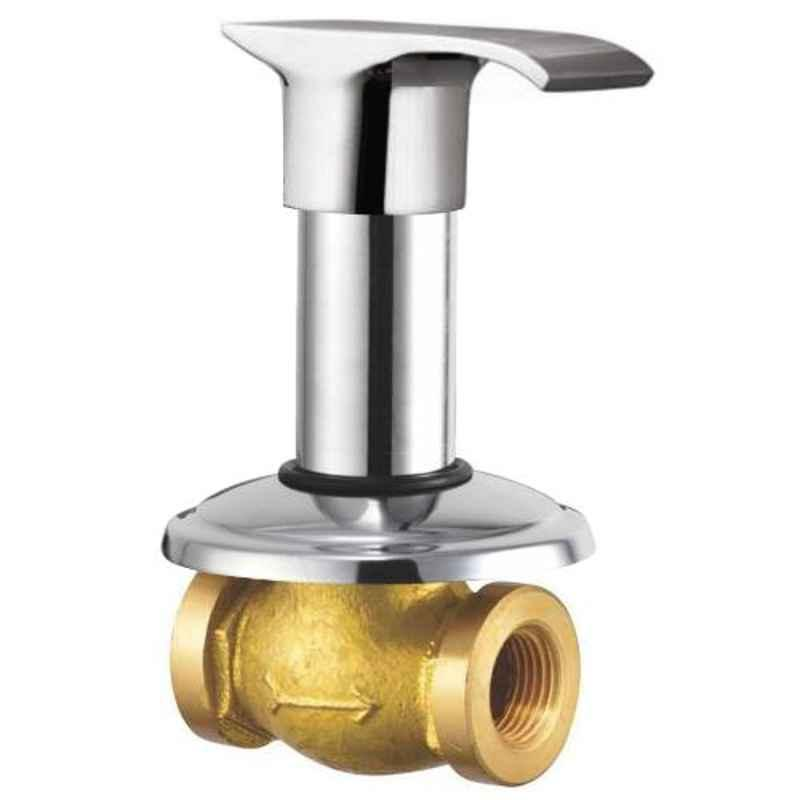 Drizzle Swift 20mm Brass Chrome Finish Silver Concealed Stop Cock, ACON20SWIFT