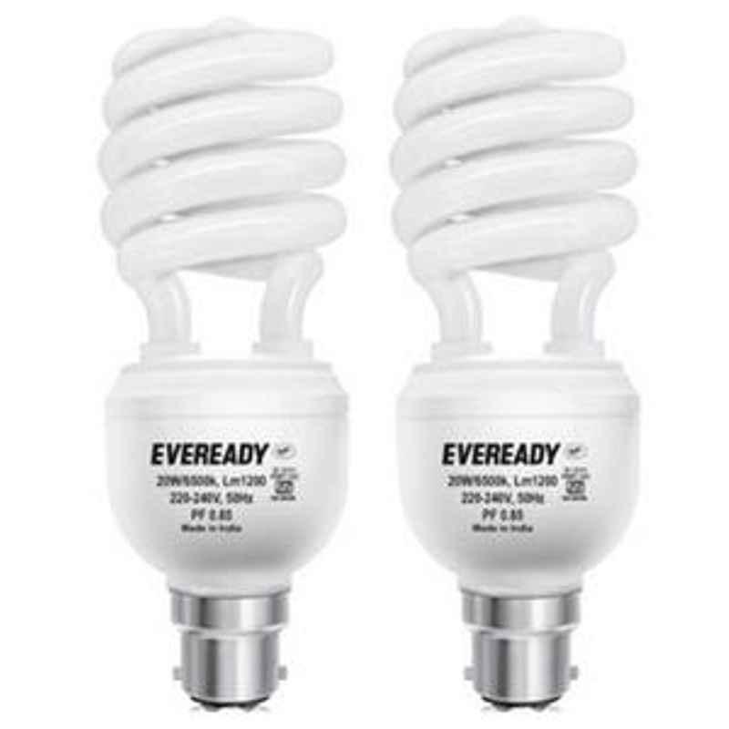 Eveready 15W Spiral 2pcs HPF White CFL Bulb