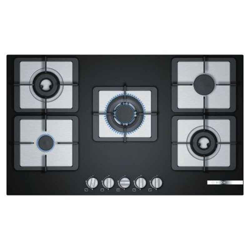 Bosch Serie-4 90cm 5 Burner Black Steel & Glass Gas Hob with Auto Ignition Knob, PPI9S6F20I