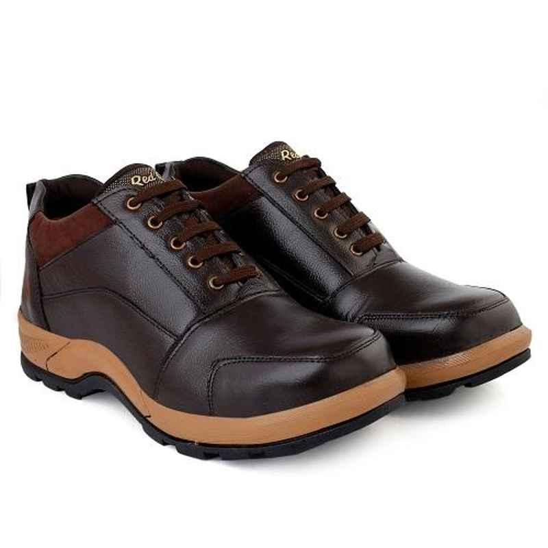 RED CAN SGE1174BR Leather Steel Toe Brown Safety Shoes, Size: 7