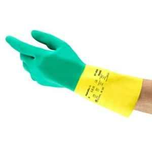 Ansell Alphatec Green & Yellow Natural Rubber Latex & Neoprene Industrial Hand Gloves, Size: 9, 87-900 (Pack of 12)