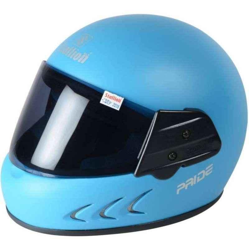 Stallion BLK Pride Plus Full Face Blue Motorbike Helmet, Size: M