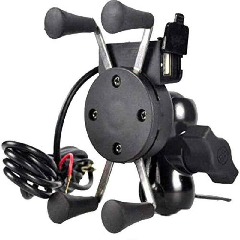 Love4ride Black Spider Bike Mobile Holder with USB Charger