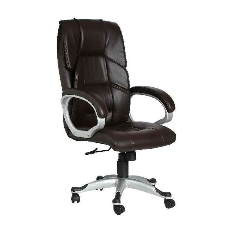 High Living Brown Leatherette High Back Extra Cushion Office Chair, HL_13