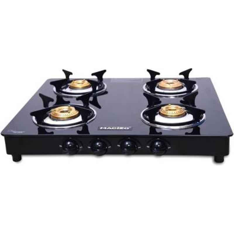 Macizo Preto 4 Burner Black Manual Ignition Glass Gas Stove with 1 Year Warranty