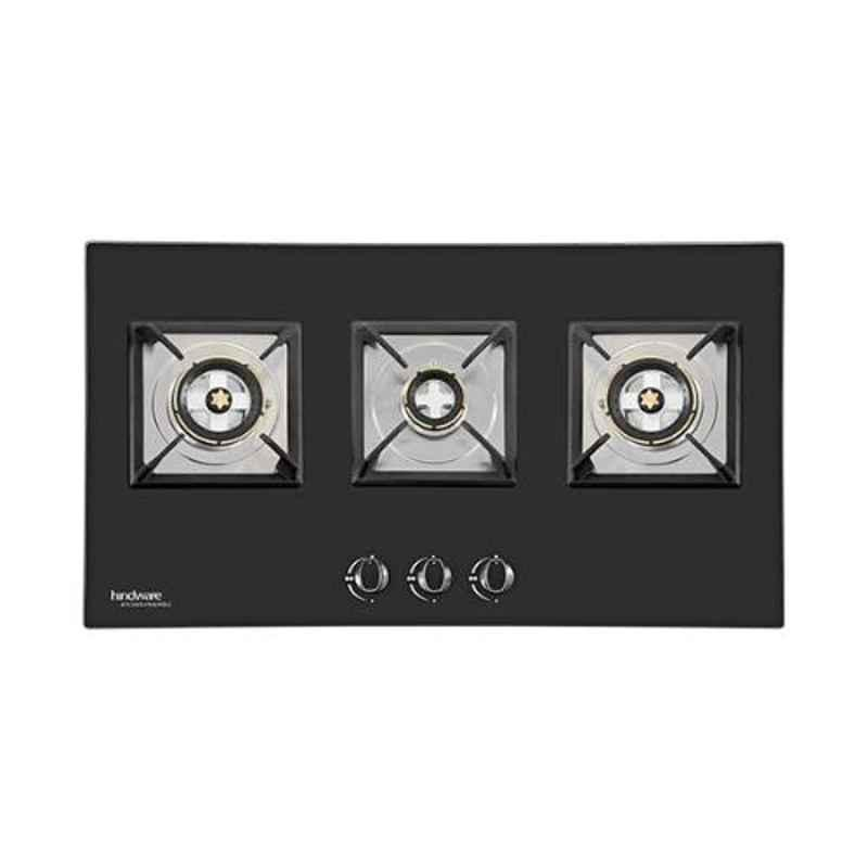 Hindware Arena 3B 3 Burners Auto Ignition Black Toughened Glass Built in Hob, 515076